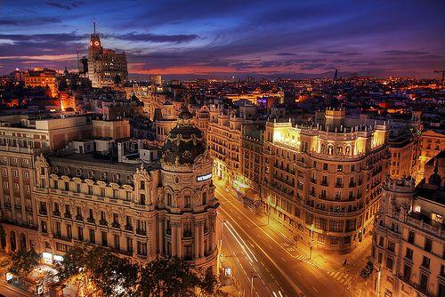 Madrid lights, Spain