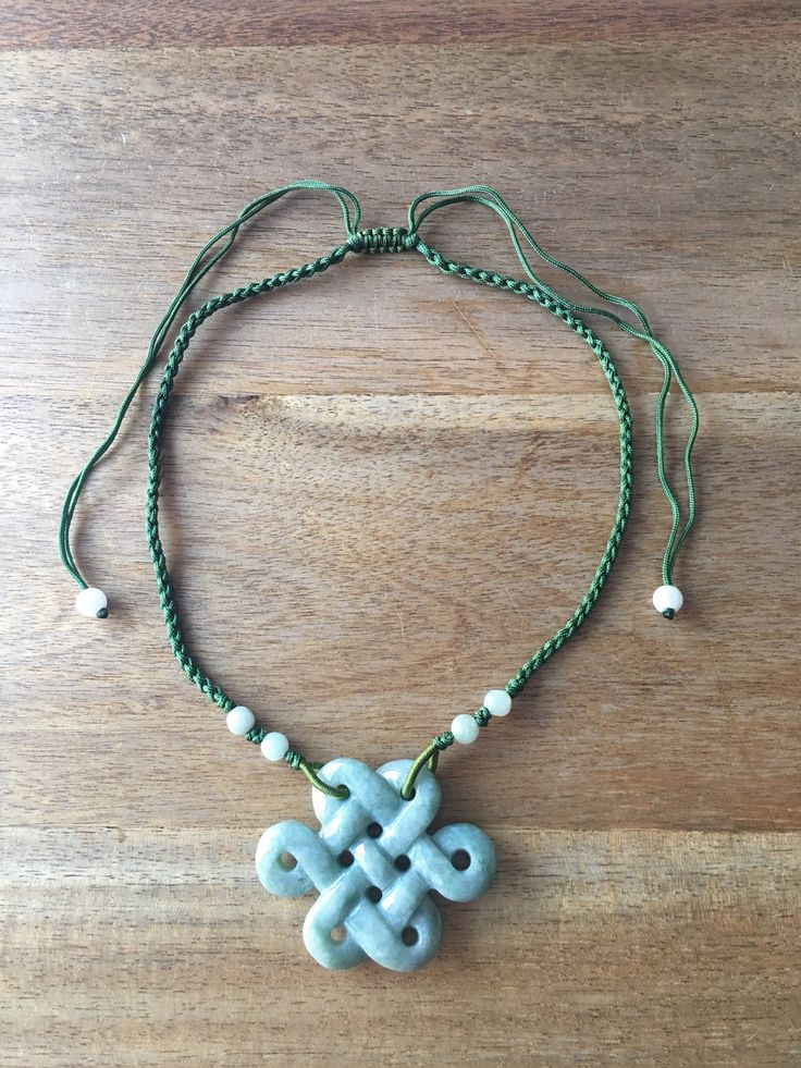 Jade Pendant - Carved Green Jade Chinese Endless Knot (盤祥結) Pendant Adjustable Green Cord Necklace by RitaCollection on Etsy