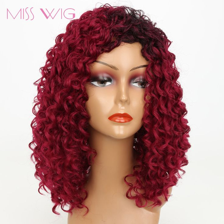 """14"""" Inch Red Curly Wig With Dark Roots for Black Women. Items per Package: 1 Piece OnlySynthetic WigsLace Wig Type: Non Lace WigsTexture: Kinky CurlyDensity: 120%Can Be Permed: NoWigs Length: Short250gCap Size: Average Size AdjustableMaterial Grade: High Temperature FiberModel Number: MS0016Brand Name: MISS WIG Shipping and Delivery Varies between 12 to 20 Days"""