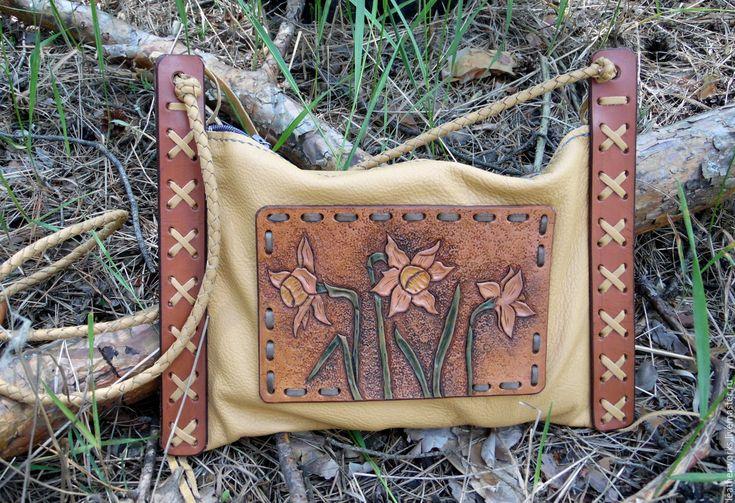 """Купить Сумка """"Весенние нарциссы"""" - бежевый, женская сумка, Кожаная сумка, тиснение по коже"""