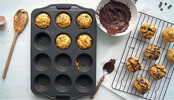 Healthy Carrot, Banana and Chocolate Chip Muffins