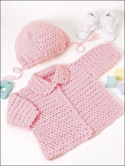 Pretty in Pink I crochet baby cardigan jacket hat bonnet
