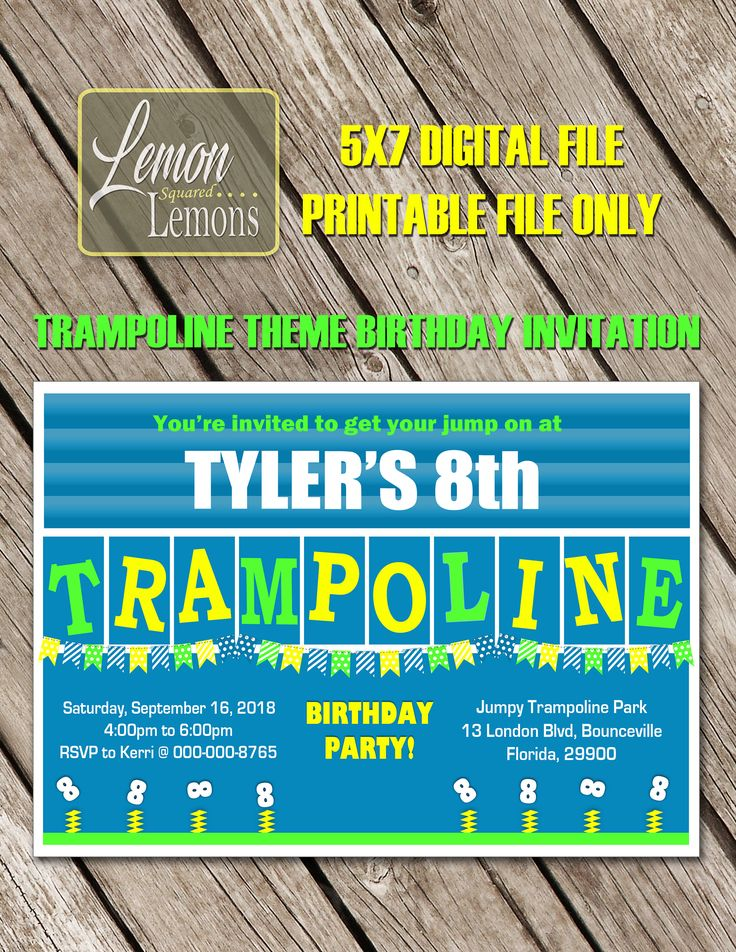 A personal favorite from my Etsy shop https://www.etsy.com/ca/listing/563840645/trampoline-birthday-invitation-printable
