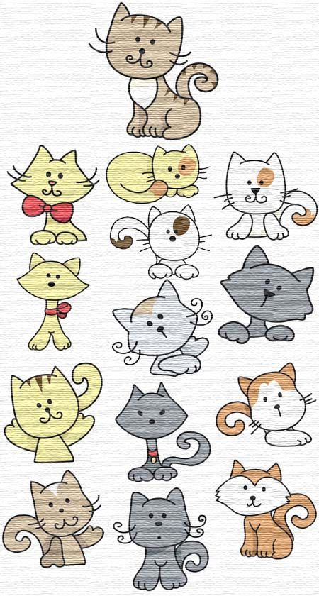 kitty ideas from embroidery patterns                                                                                                                                                                                 More