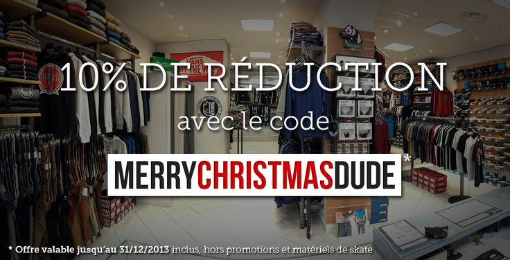 CADEAU ! 10% de remise chez http://www.playskateshop.com/ avec le code promo MERRYCHRISTMASDUDE #gift #noel #christmas #merrychristmas #joyeuxnoel #cadeau #cadeaux #voucher #codepromo #codereduction #reduction #bondachat #vouchercode