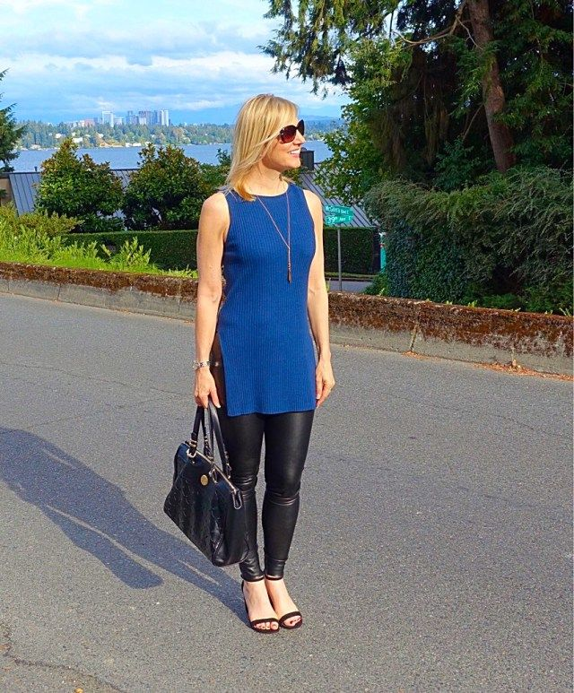 Dinner date outfit: leather leggings and heels