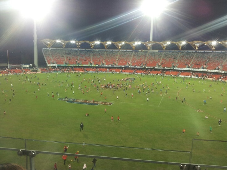 Remember running to the centre of the ground as a kid? Metricon Stadium after our game in Round 8.