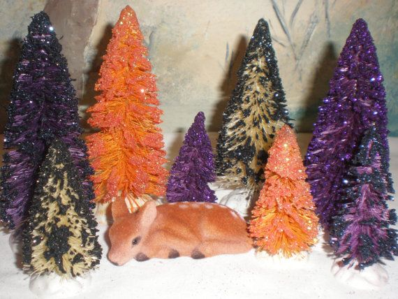 Shades of Halloween set of 8 bottle brush trees 3in and 4in of by Sugarbirdholiday, $21.00