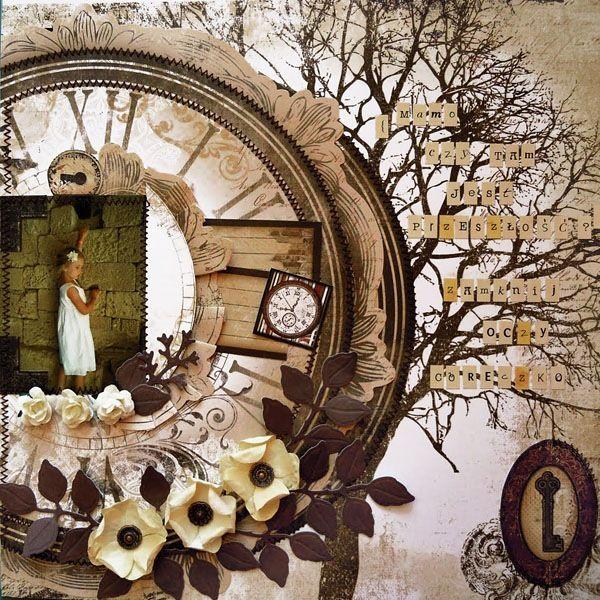 Piękny i klimatyczny scrap Moniki ze wspomnieniem jej córki ozdobiony kwiatami i ćwiekami Latarnia Morska
