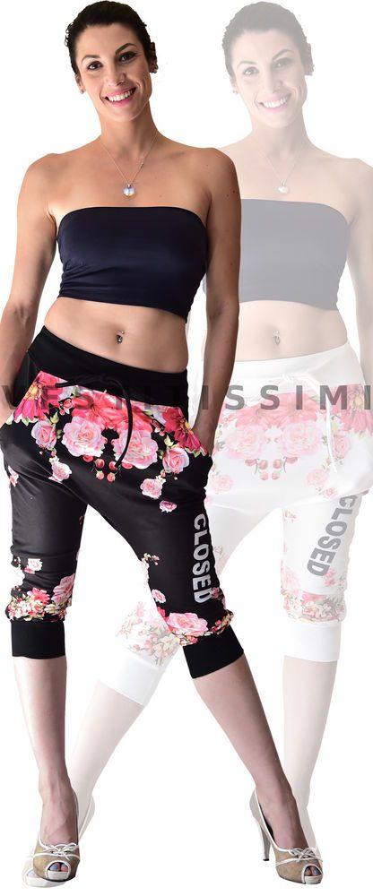 Pantaloni pinocchietti leggings capri turca corti donna sarouel harem fiori Ps06