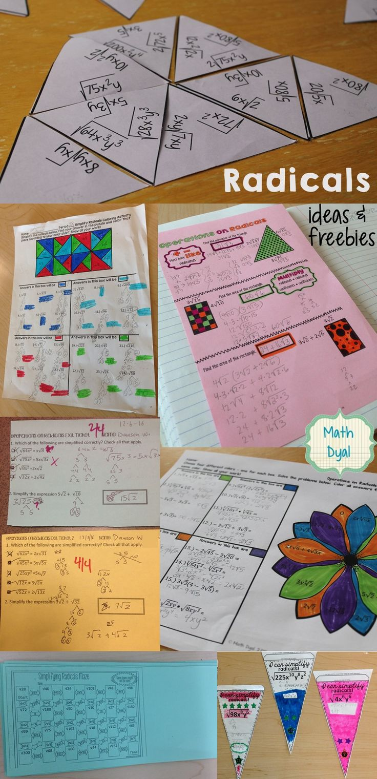 Ideas for simplifying radicals, operations on radicals, activities, free interactive notes and exit tickets.