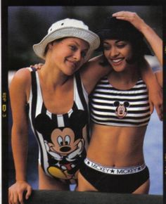1990s Swimwear - While the high-cut trend of the 80′s remained popular in the 90′s, the sporty trend also became big.  Swimsuits often resembled sporty undergarments.