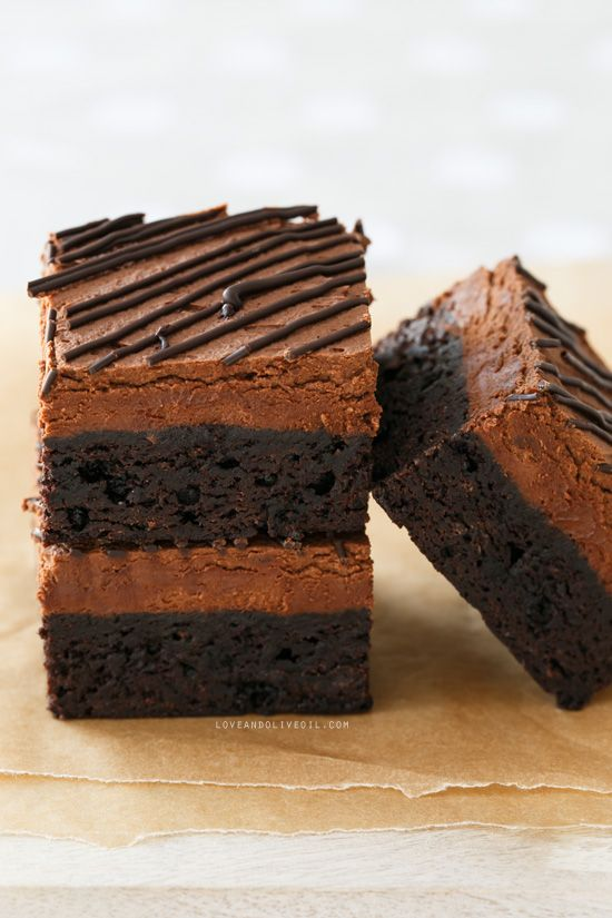Chocolate Mousse Brownies | Dark Chocolate Brownies | from @loveandoliveoil