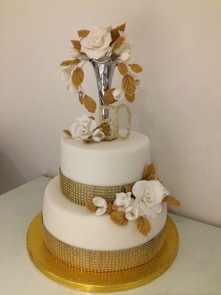 Golden wedding anniversary cake