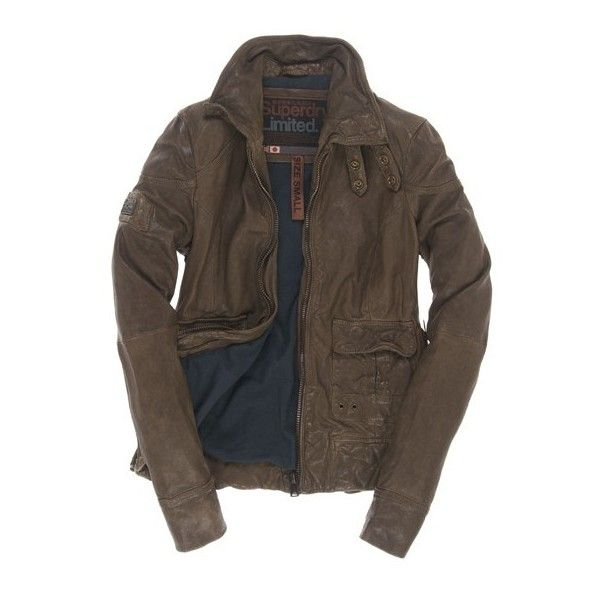 Superdry Warbird Jacket ($650) ❤ liked on Polyvore featuring outerwear, jackets, men, tops, guards green, leather jacket, brown leather jacket, real leather jacket, zipper leather jacket and 100 leather jacket