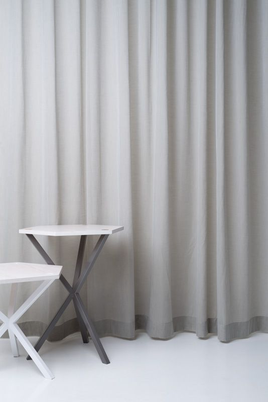 California from Astrid - a light and smooth Trevira CS voile and table and stool from No Early Birds.