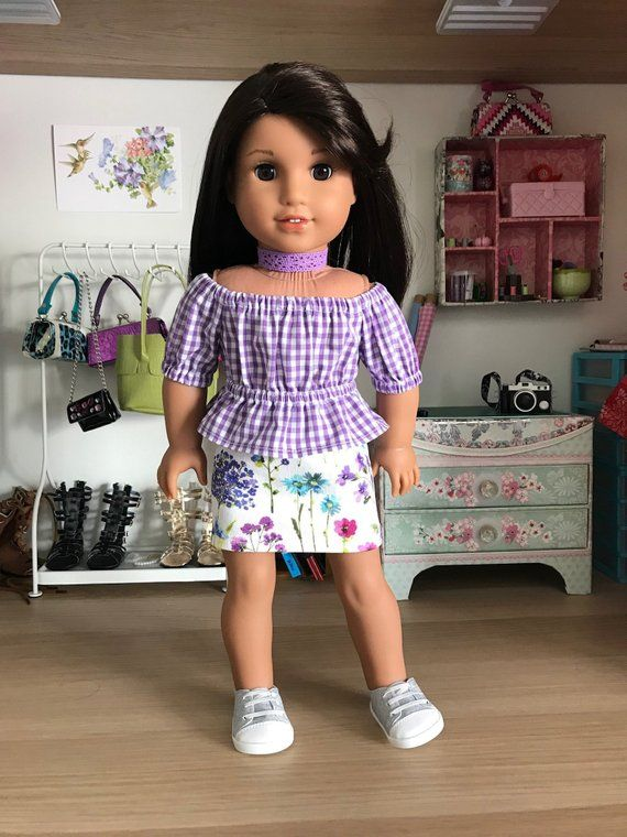 18 Doll Shorts Purple With Black Designs