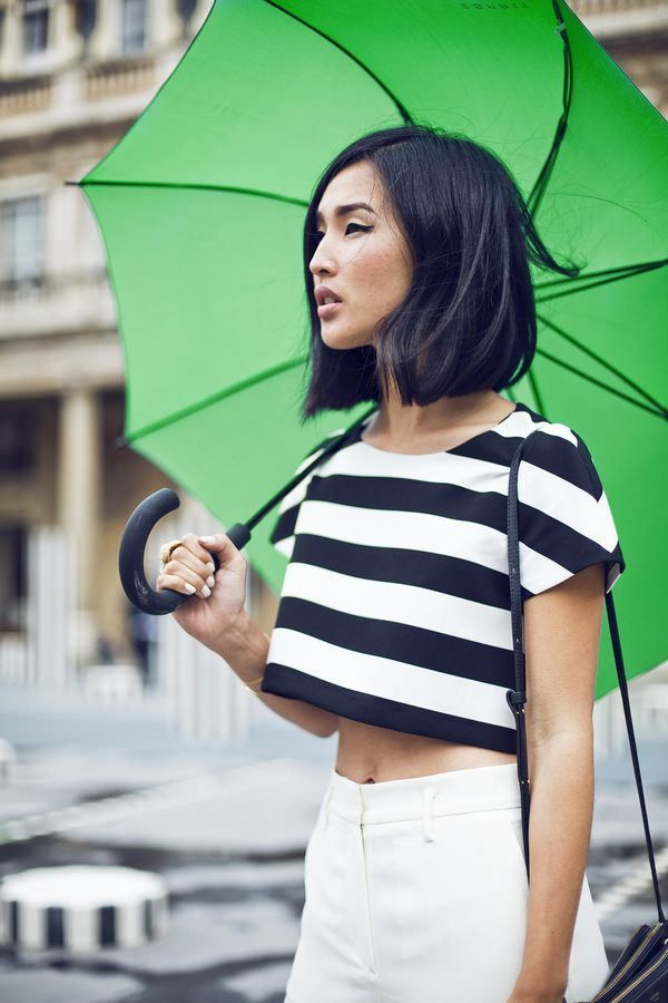 Asian Lady with Green Umbrella...
