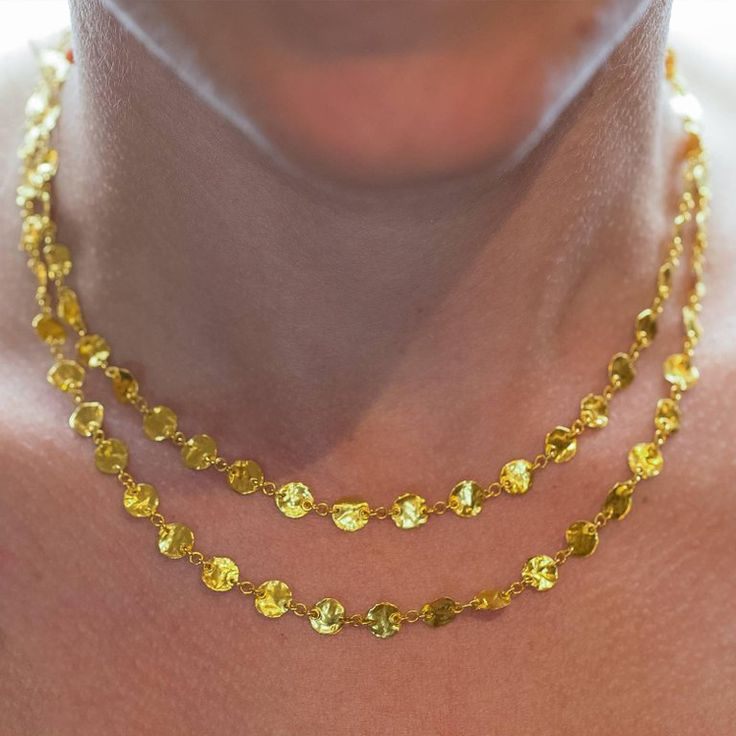 Long 24 Karat Yellow Gold Hammered Gold Coin Necklace 3