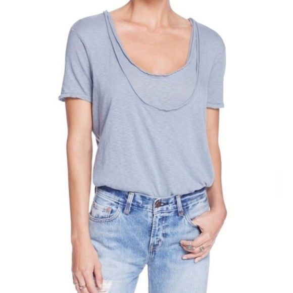 NWT We The Free People Phoebe Double Layer Tee T Shirt Top Washed Red