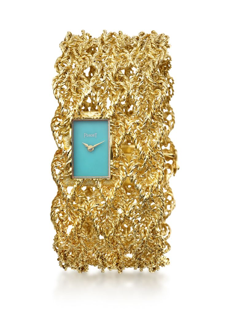#Manchette in yellow gold with #turquoise dial. #Vintage and from 1969