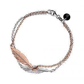 Silver & Rose Double Feather Bracelet