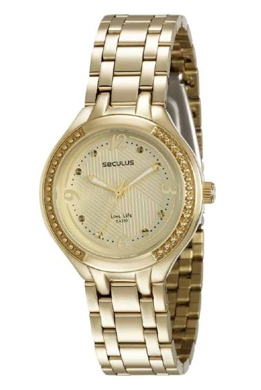 23518LPSVDA1 Relógio Feminino Dourado Seculus Long Life   Guest Club