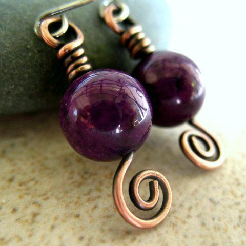 Purple Earrings in Copper Handmade Copper Jewelry by ZorroPlateado, $14.00
