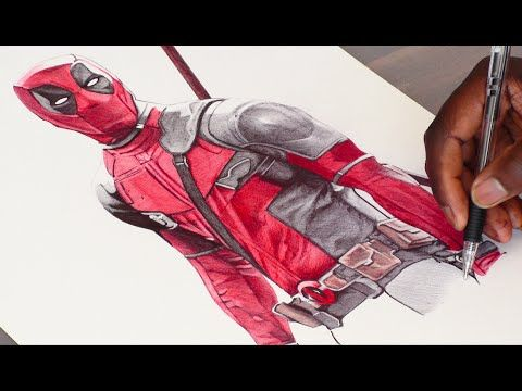 Deadpool Ballpoint Pen Drawing - Marvel - Freehand Art