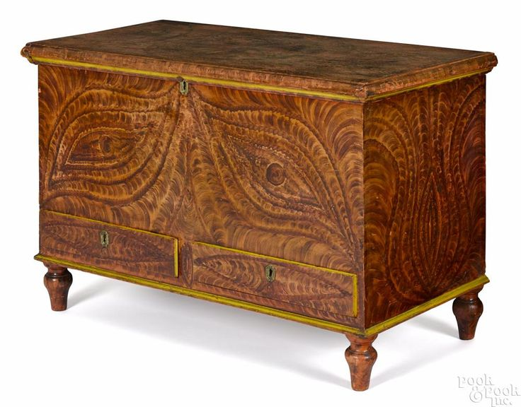 Bucks County, Pennsylvania painted pine blanket chest, 19th c., decorated by the Deep Run Artist - Price Estimate: $3000 - $5000