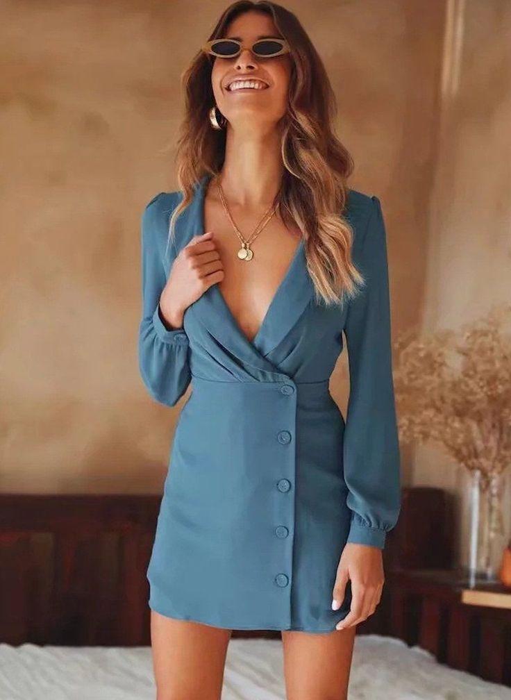 Blazers uni à manches longues et col en V profonds pour femmes, bleu