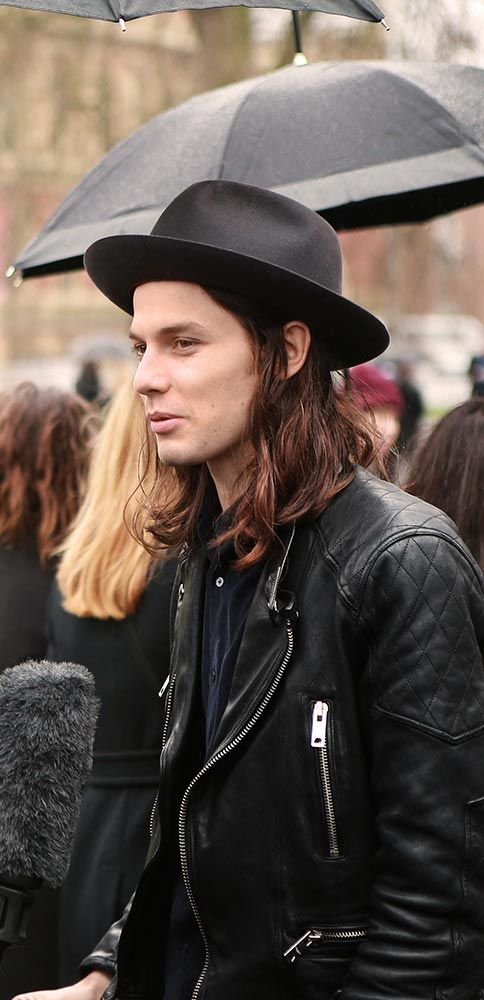 Burberry Acoustic artist James Bay chats with photographers outside the show space