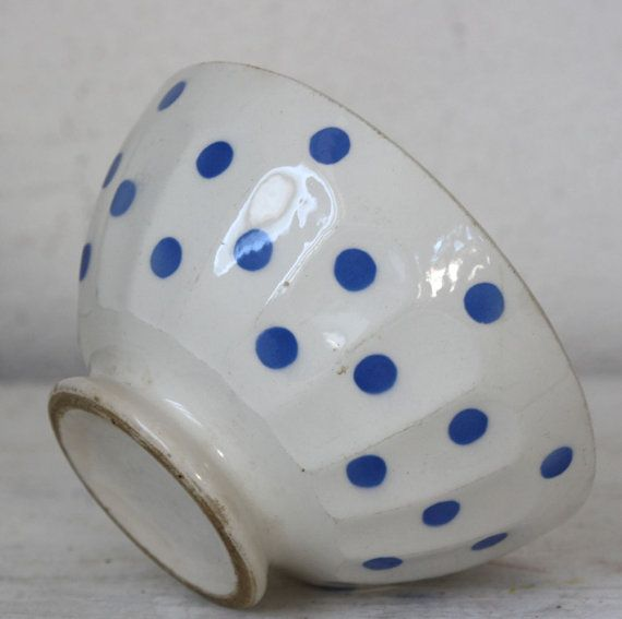 Vintage french Digoin Sarreguemines Yellow white with blue dots BOWL
