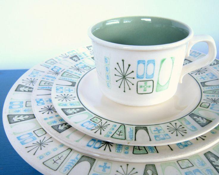 "Mid-Century Taylorstone ""Cathay"" Atomic Age Dinnerware Set, 19-Piece Taylor Smith & Taylor TST. $95.00, via Etsy."
