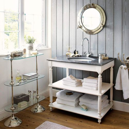Solid wood and stone basin unit in white W 90cm