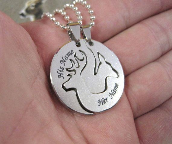 Buck And Doe Necklace For Boyfriend Girlfriend Deer