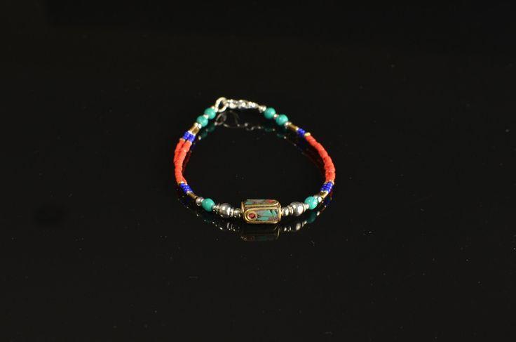 Multi-strand Tibetan Copal Inlaid Bracelet