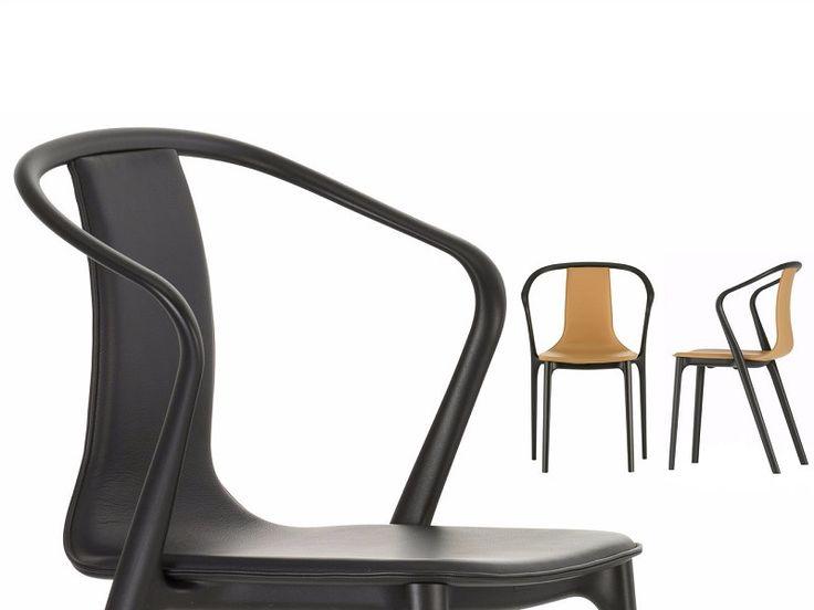 Sedia imbottita in pelle con braccioli BELLEVILLE ARMCHAIR LEATHER Collezione Belleville Chair by Vitra design Ronan