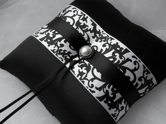 Black And White Damask With Black/Bridal Satin Ring Bearer Pillow