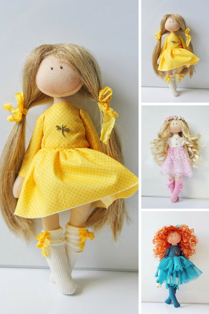 Handmade doll Soft doll Textile doll Puppen Rag doll Interior doll Art doll Cloth doll Yellow doll Tilda doll Fabric doll by Olesya N