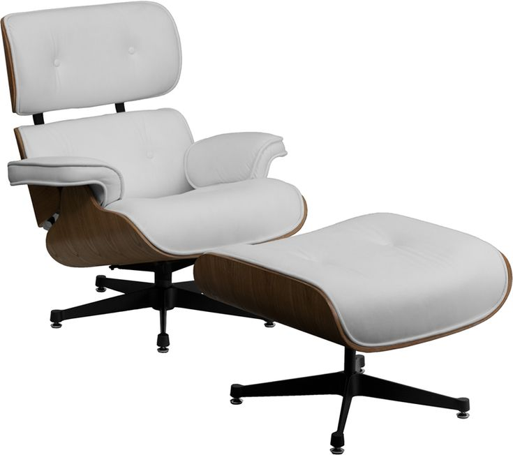 Flash Furniture HERCULES Presideo Series Top Grain White Italian Leather Lounge Chair and Ottoman Set with Metal Base