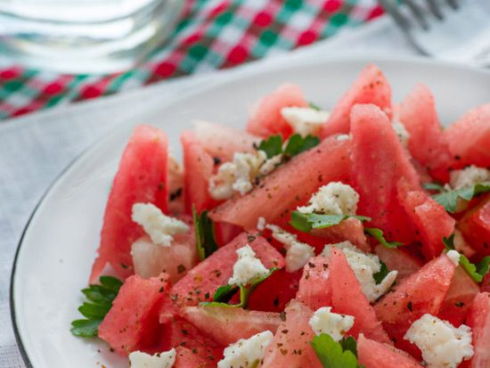 Rick Bayless' Mexicano watermelon salad.  I like a touch of Tequila in the dressing!