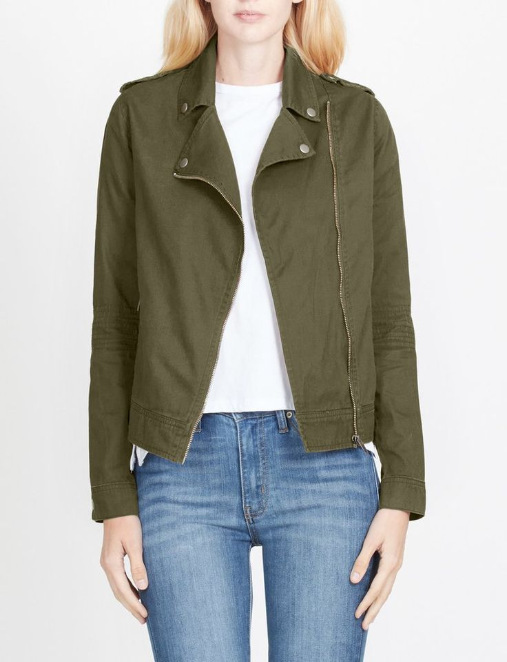 LE3NO Womens Cropped Long Sleeve Zip Up Moto Military Jacket
