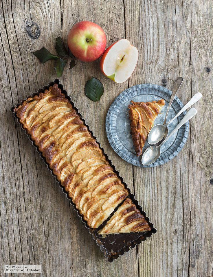 tarta fina de manzana y chocolate blanco