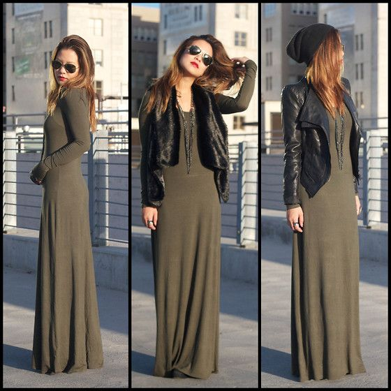 Forever 21 Maxi Dress, Steve Madden Fur Vest, Ray Bans Sunglasses, Ebay Pu Jacket, Urban Outfitters Beanie