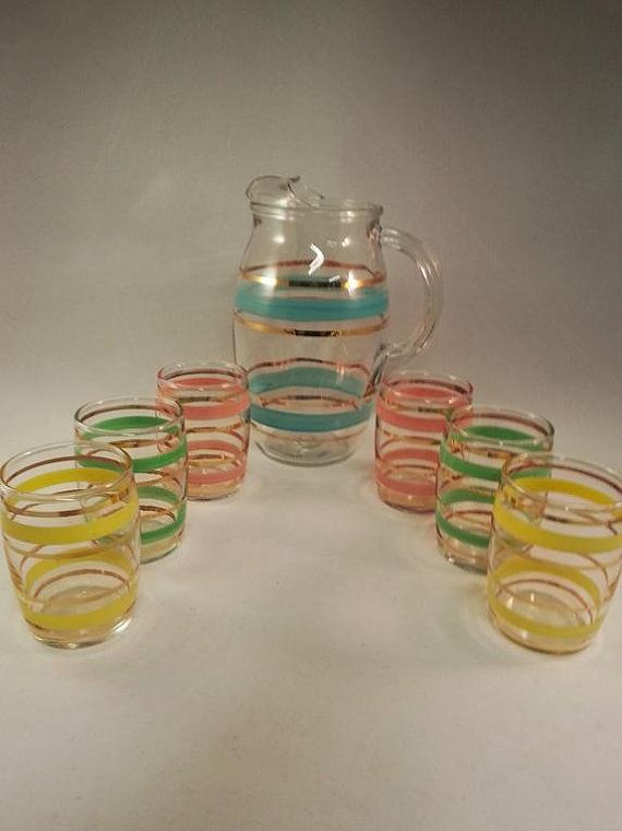 Vintage Mid Century Striped Juice Pitcher & Glasses by JnetsJunque ivteam epsteam