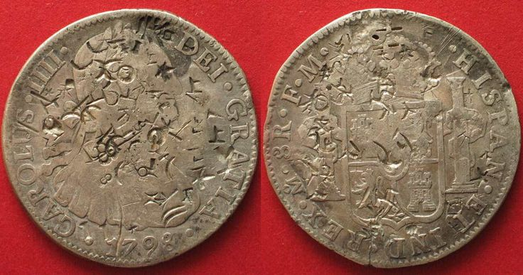 1798 Mexiko MEXICO 8 Reales (Peso) 1798 FM Mo CARLOS IV silver CHINESE CHOPMARKS VF # 90148 VF