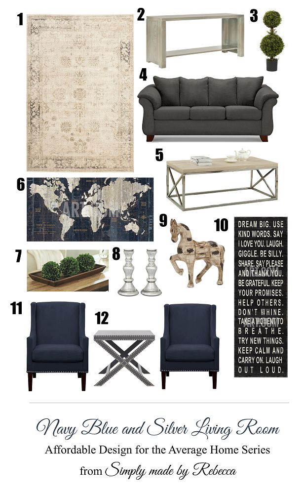 Navy Blue and Silver Living Room Inspiration Board. Affordable Furniture and home decor from retailers like Target, Wayfair.com, Value City Furniture, Homedecorators.com, and art.com.