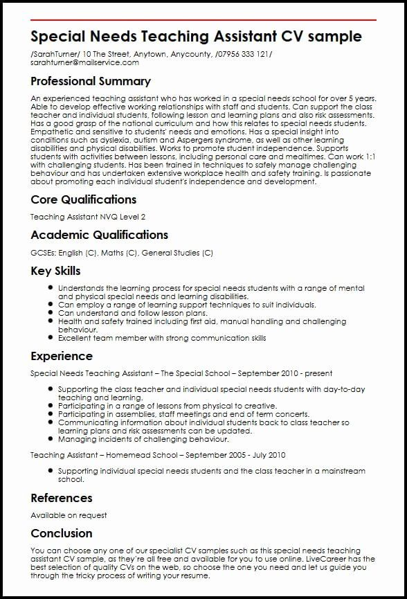Teaching Assistant Resume With No Experience New Special Needs Teaching Assistan In 2021 Teacher Resume Examples Teaching Assistant Cover Letter Teacher Assistant Jobs