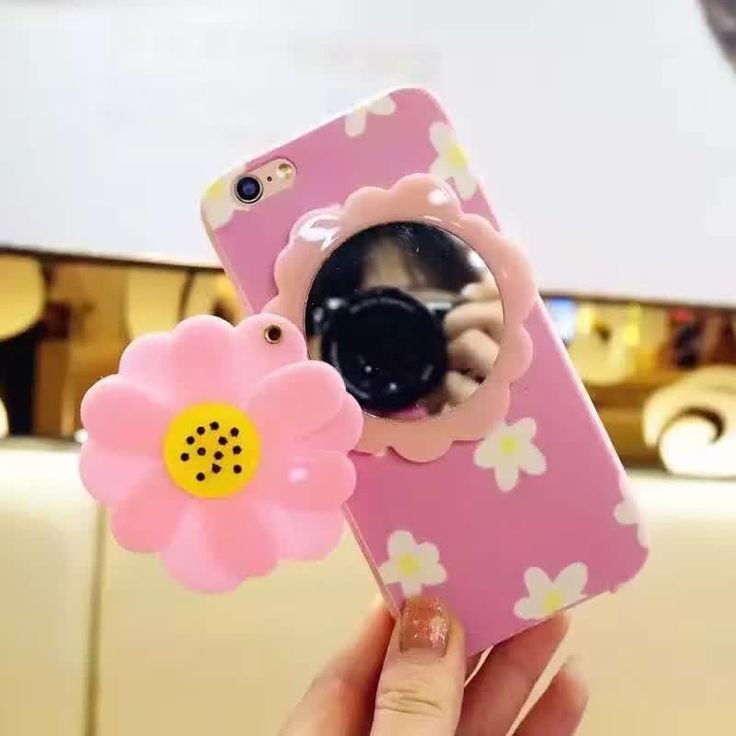 Cute Pink Daisy IPhone 6 Case, Unique Mirror Style Iphone 6s Case.